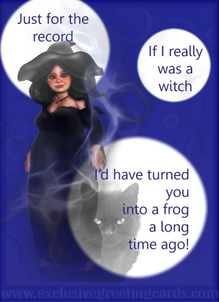 attitude greeting card witch