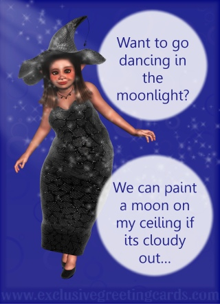 Bewitching Greeting Card - dance moonlight